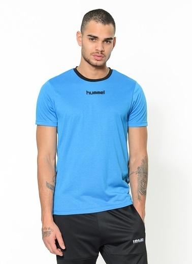 Hummel Bisiklet Yaka Tişört Mavi
